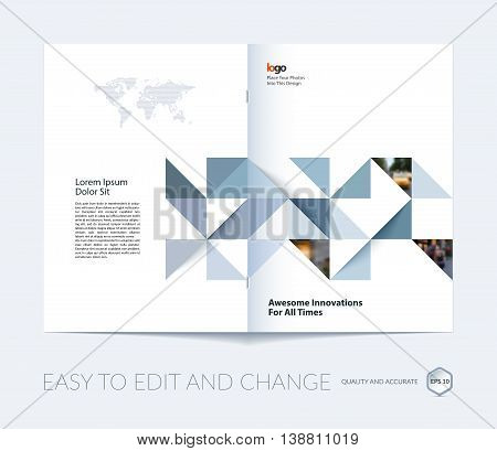 Brochure template layout, cover design annual report, magazine, flyer, leaflet in A4 with grey triangles for business, technology and science in style of material design. Vector.