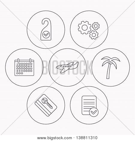 Palm tree, air-plane and e-key icons. Clean room linear sign. Check file, calendar and cogwheel icons. Vector