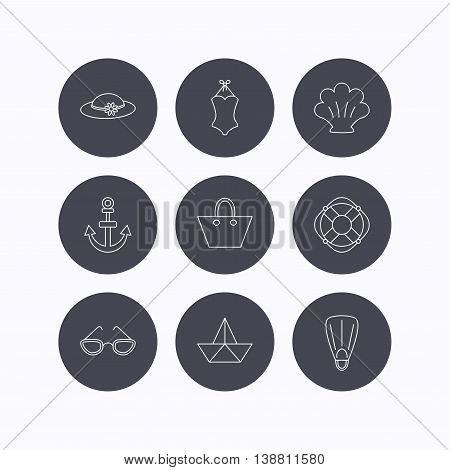 Paper boat, shell and swimsuit icons. Lifebuoy, glases and women hat linear signs. Anchor, ladies handbag icons. Flat icons in circle buttons on white background. Vector