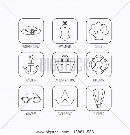 Paper boat, shell and swimsuit icons. Lifebuoy, glases and women hat linear signs. Anchor, ladies handbag icons. Flat linear icons in squares on white background. Vector