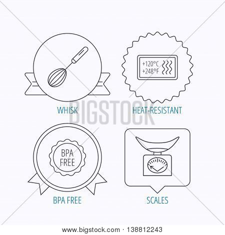 Kitchen scales, whisk and heat-resistant icons. BPA free linear sign. Award medal, star label and speech bubble designs. Vector