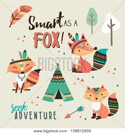 Smart as a fox! Quote poster with cartoon character fox.