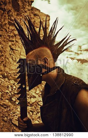 Merciless horrible raider with mohawk haircut posing over a rock
