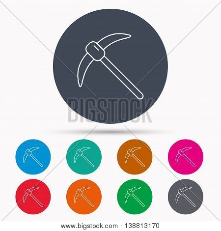 Mining tool icon. Pickaxe equipment sign. Minerals industry symbol. Icons in colour circle buttons. Vector