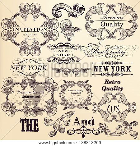Antique collection of vector banners and ornaments in filigree vintage style. Hand drawn elements for authentic design poster