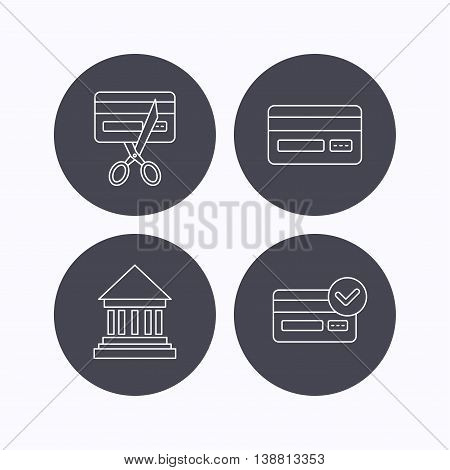 Bank credit card, approved card icons. Expired credit card linear sign. Flat icons in circle buttons on white background. Vector