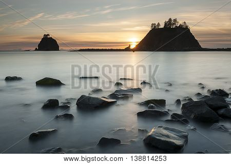 Long exposure of rocks at sunset in La Push Washington.