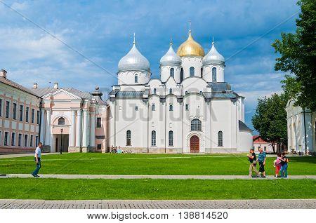 VELIKY NOVGOROD RUSSIA - JULY 15 2016. St Sophia Russian Orthodox cathedral at sunny summer day in Veliky Novgorod Russia. Architecture landscape of Veliky Novgorod landmark