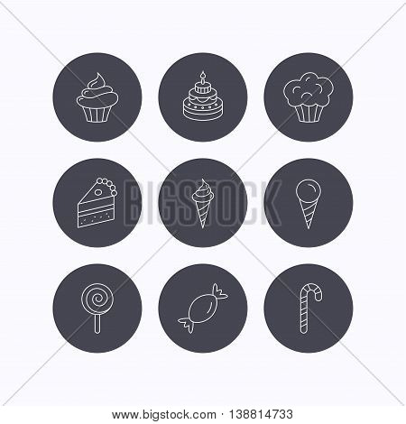 Cake, candy and muffin icons. Cupcake, ice cream and lolly pop linear signs. Piece of cake icon. Flat icons in circle buttons on white background. Vector