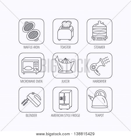 Microwave oven, teapot and blender icons. Refrigerator fridge, juicer and toaster linear signs. Hair dryer, steamer and waffle-iron icons. Flat linear icons in squares on white background. Vector