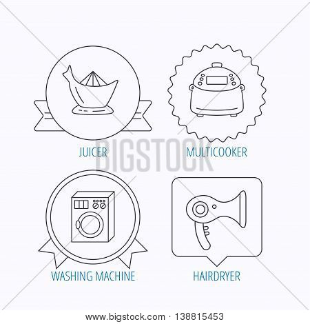 Washing machine, multicooker and hair dryer icons. Washing machine linear sign. Award medal, star label and speech bubble designs. Vector