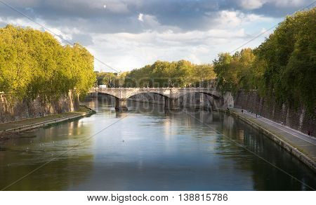 ROME, ITALY - APRIL 8, 2016: Isola, Island in the middle of Flume Tevere, River Tider