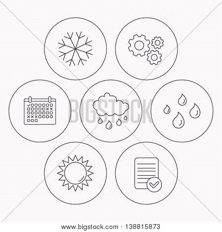 Snowflake, sun and rain icons. Water drops linear sign. Check file, calendar and cogwheel icons. Vector