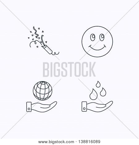 Save water, save planet and slapstick icons. Smiling face linear sign. Flat linear icons on white background. Vector