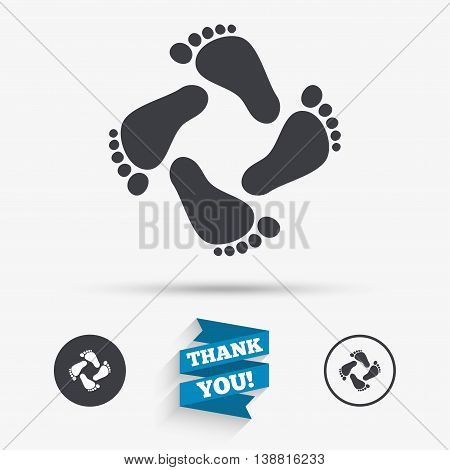 Baby footprints icon. Child barefoot steps. Toddler feet symbol. Flat icons. Buttons with icons. Thank you ribbon. Vector