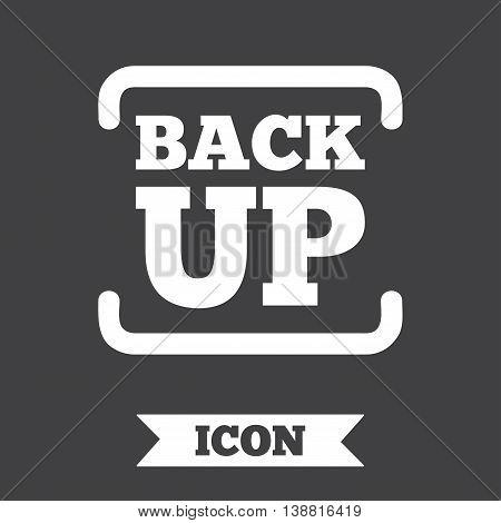 Backup date sign icon. Storage symbol with arrow. Graphic design element. Flat backup symbol on dark background. Vector