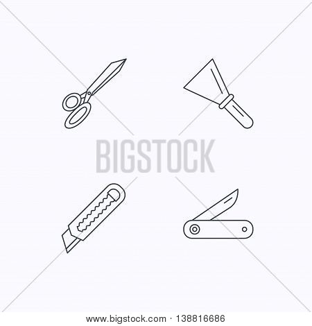 Paper knife, spatula and scissors icons. Multi-tool knife linear sign. Flat linear icons on white background. Vector