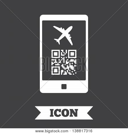 Boarding mobile pass flight sign icon. Airport ticket on smartphone symbol. Graphic design element. Flat boarding pass symbol on dark background. Vector