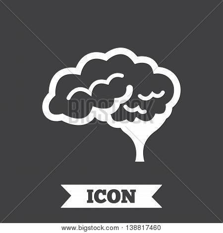 Brain with cerebellum sign icon. Human intelligent smart mind. Graphic design element. Flat neurology symbol on dark background. Vector