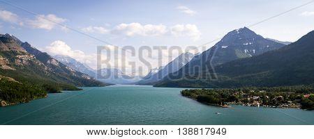 Panoramic view of the Waterton Lake, Canada