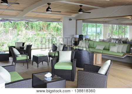 IQUITOS, PERU - OCTOBER 12, 2015: The Amazon Discovery Cruise Ship outdoor lounge. The Luxury Ship explores the Peruvian Amazon.