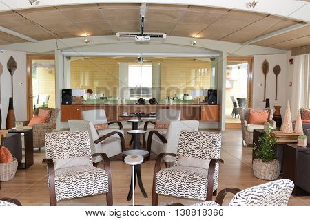 IQUITOS, PERU - OCTOBER 13, 2015: The Amazon Discovery Cruise Ship Bar Lounge. The Luxury Ship explores the Peruvian Amazon.