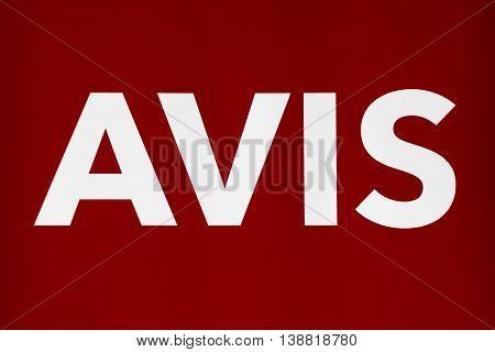 MINNEAPOLIS MN/USA - MAY 22 2016: Avis Rent a Car sign and logo. Avis is an American car rental company.