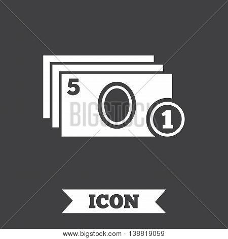 Cash and coin sign icon. Paper money symbol. For cash machines or ATM. Graphic design element. Flat cash symbol on dark background. Vector