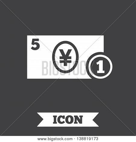 Cash sign icon. Yen Money symbol. JPY Coin and paper money. Graphic design element. Flat cash symbol on dark background. Vector