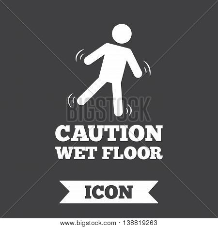 Caution wet floor sign icon. Human falling symbol. Graphic design element. Flat wet floor symbol on dark background. Vector