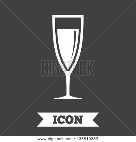 Glass of champagne sign icon. Sparkling wine. Celebration or banquet alcohol drink symbol. Graphic design element. Flat champagne symbol on dark background. Vector