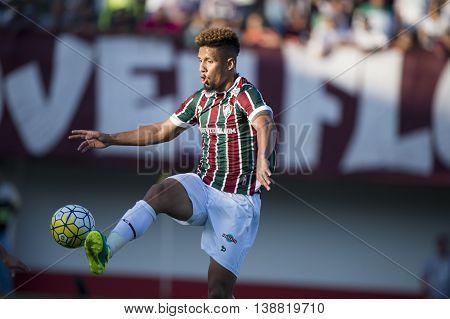 Rio de Janeiro Brazil - April 10 2016: Samuel player in match between Fluminense and Cruzeiro by the Brazilian championship in the Giulite Coutinho Stadium