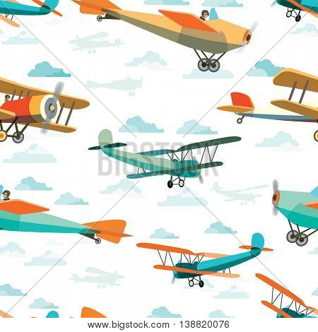 Seamless pattern from Vector Retro Airplanes