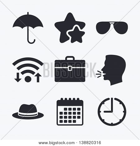 Clothing accessories icons. Umbrella and sunglasses signs. Headdress hat with business case symbols. Wifi internet, favorite stars, calendar and clock. Talking head. Vector