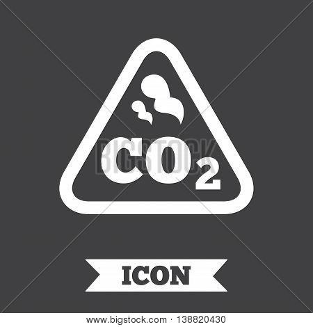 CO2 carbon dioxide formula sign icon. Chemistry symbol. Graphic design element. Flat carbon symbol on dark background. Vector