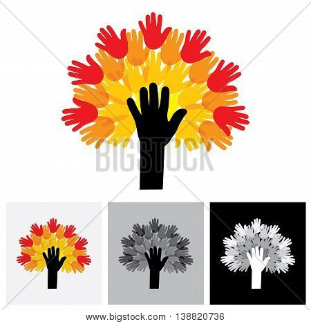 Human Hand & Tree Icon With Colorful Palms - Concept Vector Icon