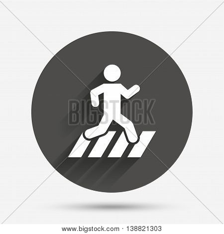 Crosswalk icon. Crossing street sign. Circle flat button with shadow. Vector