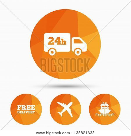 Cargo truck and shipping icons. Shipping and free delivery signs. Transport symbols. 24h service. Triangular low poly buttons with shadow. Vector poster