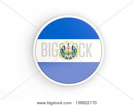 Flag Of El Salvador. Round Icon With Frame
