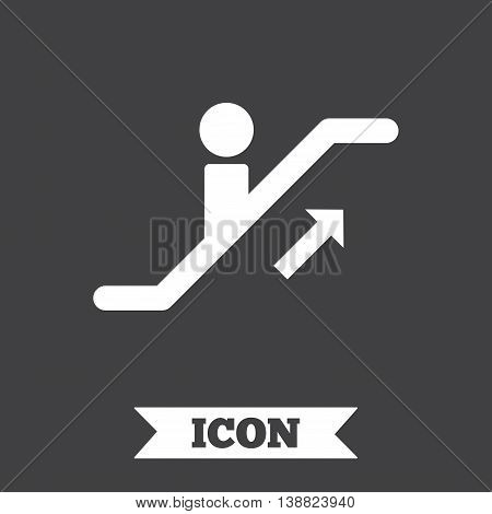 Escalator staircase icon. Elevator moving stairs up symbol. Graphic design element. Flat escalator staircase symbol on dark background. Vector