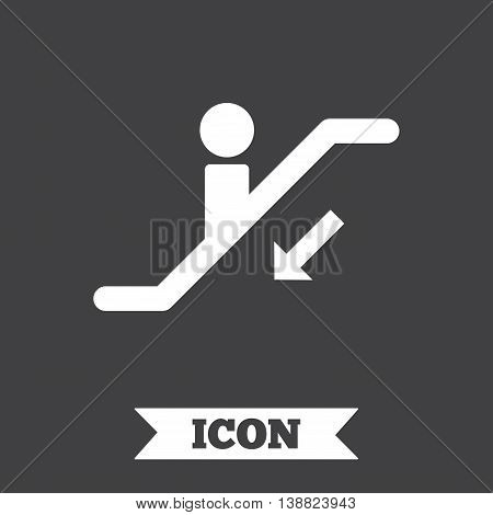 Escalator staircase icon. Elevator moving stairs down symbol. Graphic design element. Flat escalator symbol on dark background. Vector