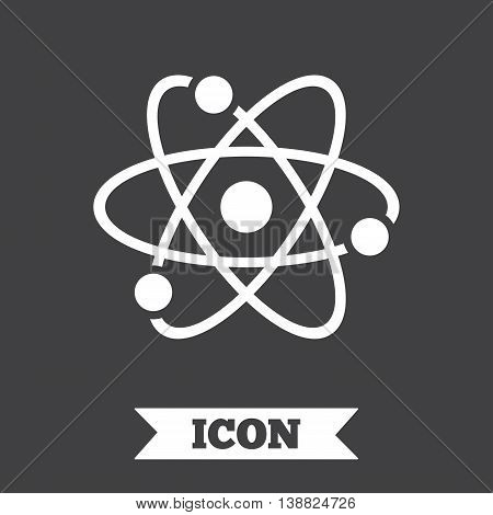 Atom sign icon. Atom part symbol. Graphic design element. Flat atom symbol on dark background. Vector