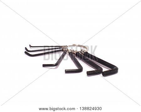 black metallic hex key wrench set of seven