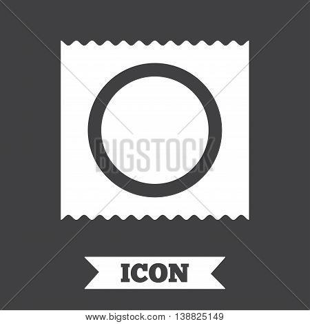 Condom in package safe sex sign icon. Safe love symbol. Graphic design element. Flat condom symbol on dark background. Vector