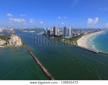 Government Cut Miami Beach Florida shot with a drone