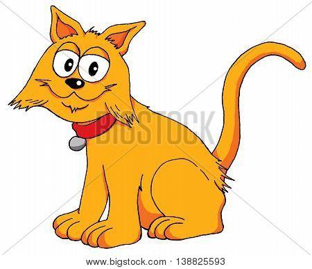 Cartoon illustration of a very happy cat
