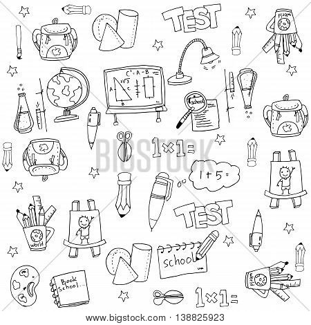 School flat doodles collection stock vector illustration