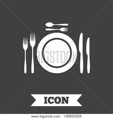 Plate dish with forks and knifes. Dessert trident fork with teaspoon. Eat sign icon. Cutlery etiquette rules symbol. Graphic design element. Flat cutlery symbol on dark background. Vector