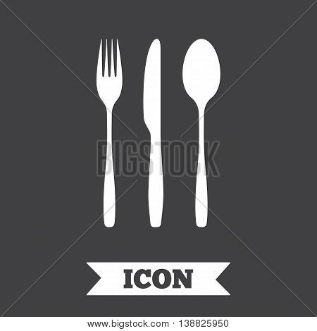 Fork, knife, tablespoon sign icon. Cutlery collection set symbol. Graphic design element. Flat cutlery symbol on dark background. Vector