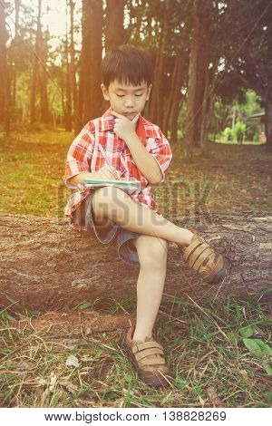 Happy Asian Child Smiling On Wooden Log In National Park. Outdoors. Education Concept.